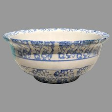 19th American Spongeware Pottery Bowl