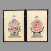C. 1900 Pair of Chinese Ancestral Portraits