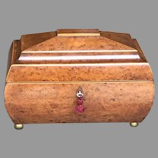 19th C. English Bird's Eye Maple Tea Caddy