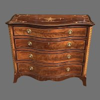 18th c. George III serpentine English chest of drawers