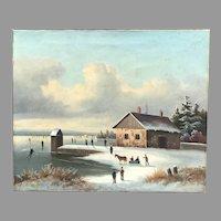 19th C. Winter Scene Oil Painting