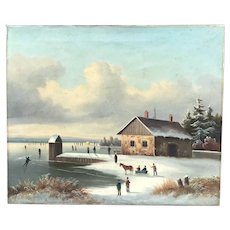 19th C. Winter Scene Oil Painting