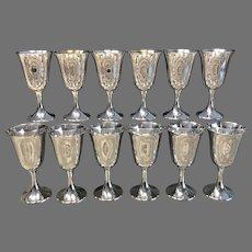Set of 12 Gorham Sterling Goblets