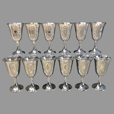 Set of 12 Gorham Sterling Goblets