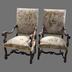 Pair of 19th C. Louis IV style French Armchairs