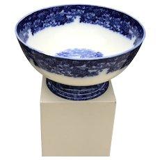 19th C. Flow Blue English Punchbowl
