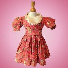 Antique Calico Print Doll Dress