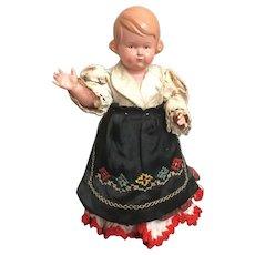 """7"""" Schildkrot Celluloid Little Regionally Dressed Girl"""