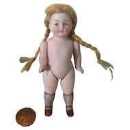 "Very Nice 4"" German All Bisque Doll"