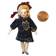"Tiny 3"" German Pin Jointed All Bisque Doll"
