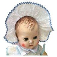 """Sweet Dotted Swiss Baby Doll Bonnet 11"""" Head Size"""