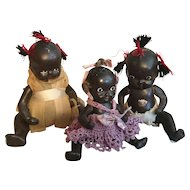 Three Afro-American Ptd. Bisque Dolls