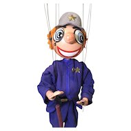 1948 Effanbee Kilroy the Cop Puppet, Record, Instruction Sheet and Box