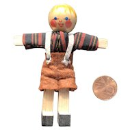 German Jointed Wooden Doll House Brother Doll