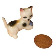 Dear Little Bone China Doll House Size Kitten with a Ball