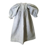 Very Nice Small Check Homespun Dress for China Head, Papier Mache'