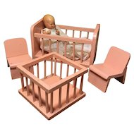 4 Piece Pink German Doll House Nursery Set & Doll