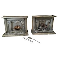 Pair of Late 19c. German Doll House Fireplaces