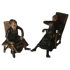 Pr. Miniature Cold Painted Vienna Bronze Priest Figures