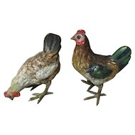 Two Cold Painted Vienna Bronze Chickens—2 Hens