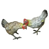 Pair of Vienna Bronze Chickens in As Is Condition