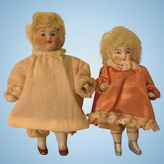Two German All Bisque Little Girl Dolls