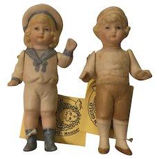 2 Artist Made All Bisque Dolls
