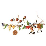 13 Tiny Glass Charms, Metal Gentlemen, Molded Figure Charms