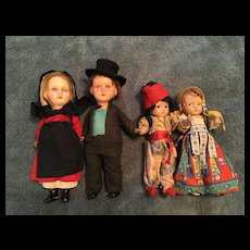 2 Pairs of Regionally Dressed Composition Dolls
