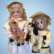 Pair of Vintage Wool Spring Lambs