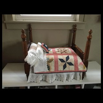 Late 19c. Hand Made Doll Bed and Dressings