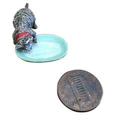 Tiny Metal Tiger Kitten and Milk Bowl