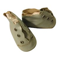 Vintage Oilcloth Doll Shoes in Light Blue