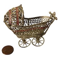 Vintage Silver Toned Doll House Baby Carriage
