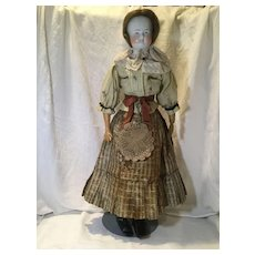 Lg. c.1850s Beidermeier Bald  Chinahead—Orig. Clothes