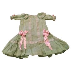 Vintage Apple Green Dotted Swiss Doll Dress