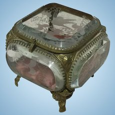 Lovely Small Jewel Casket with Etching