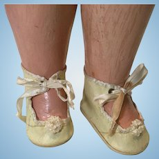 Vintage OIlcloth Baby Doll Shoes with PomPoms