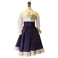 C.1950 Tagged Eugenia 3 Piece Silk & Taffeta Gown