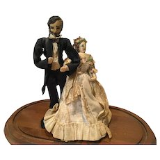 Vintage Artist Made Abraham and Mary Todd Lincoln Figures