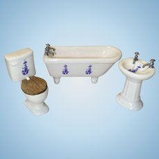 3 Piece Vintage Doll House Bathroom Set