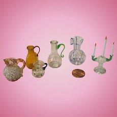 6 Vintage Miniature Blown Glass Doll House Pieces