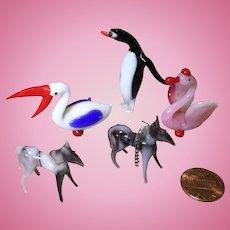 Five Vintage Blown Glass Miniature Animals