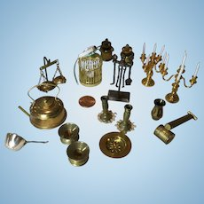 15 Pieces of Brass or Gold Toned Dollhouse Miniatures