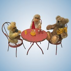 Sweet 3 Chair Antique Bistro Set for Your Mignonettes or Wee Bears
