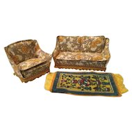 Lundby Print Sofa and Chair and Velveteen Rug