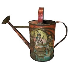 Late 19c. Tin Embossed Child/Doll Watering Can
