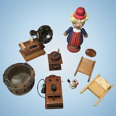 8 Pieces Vintage Wooden Doll House Accessories