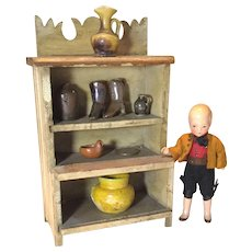 Early 20c. Doll House Cupboard with Pottery Pieces