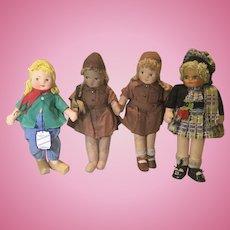 4 Georgene Cloth Dolls